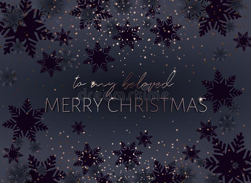 Cartolina nera di Buon Natale Iscrizione dell'oro illustrazione di stock