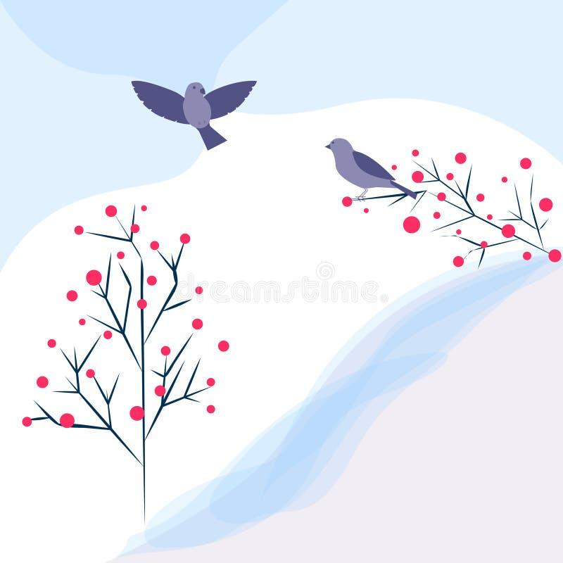 Cartolina o fondo universale semplice sveglia della molla con gli uccelli e gli alberi Progettazione grafica moderna Ideale per i illustrazione di stock