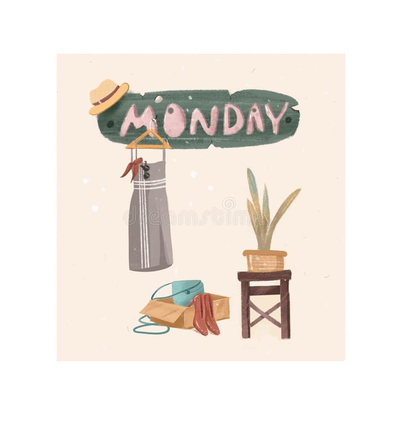 Cartolina in onore di lunedì Scarpe e borsa dell'abbigliamento delle donne immagine stock libera da diritti