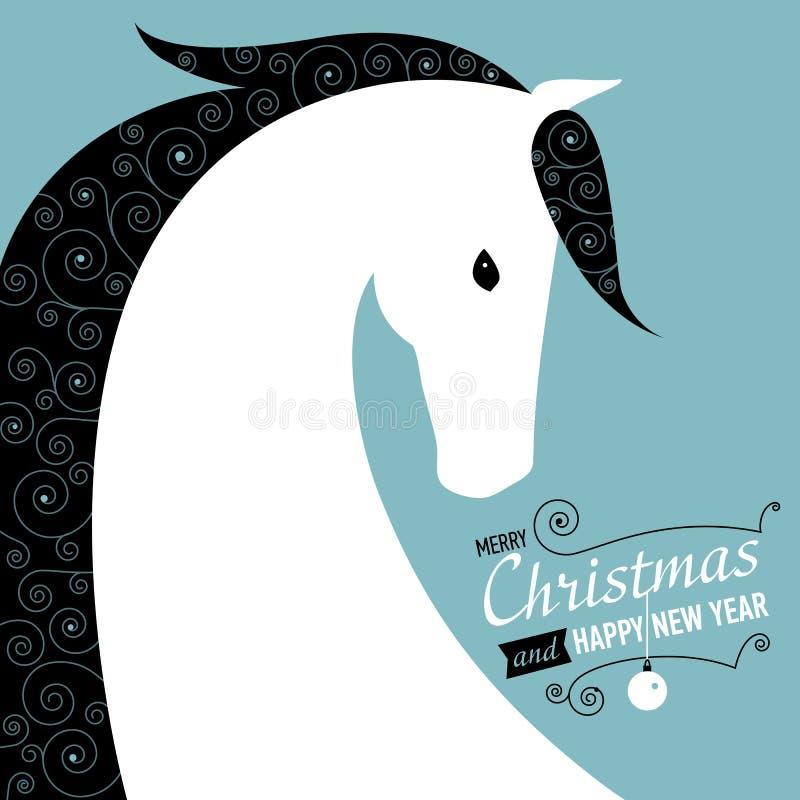 Cartolina per 2014 anni del cavallo. royalty illustrazione gratis
