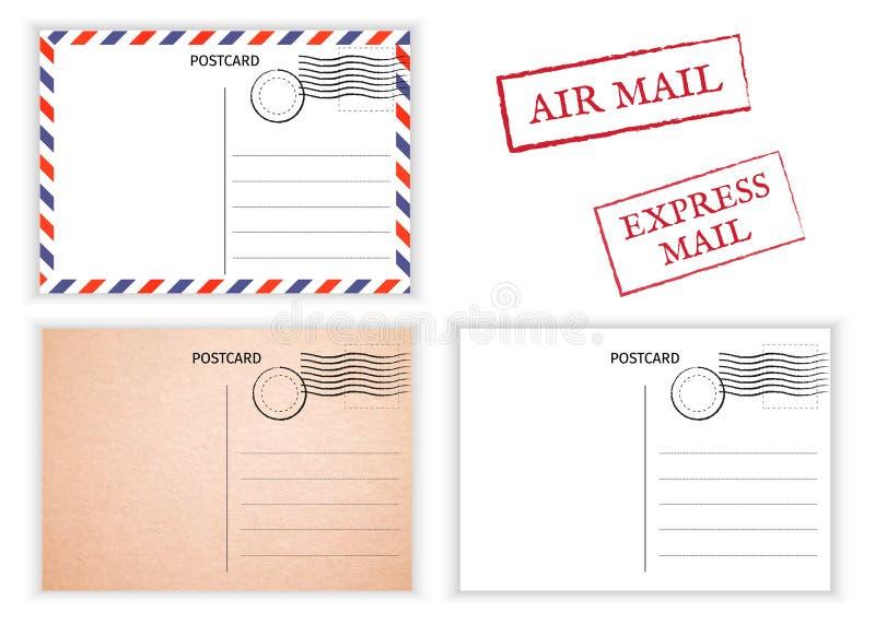 cartolina Posta aerea Illustrazione della carta postale per progettazione Postcar illustrazione di stock