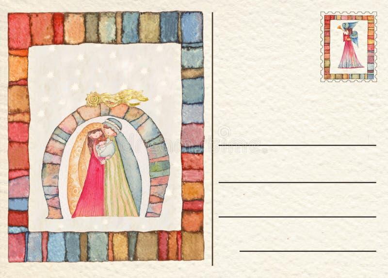 Cartolina posteriore disegnata a mano di Natale illustrazione vettoriale