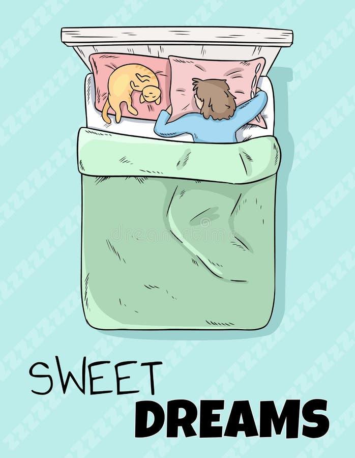 Cartolina sveglia di sogni dolci Ragazza che dorme pacificamente nel suo letto illustrazione di stock