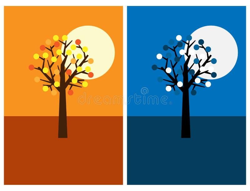 Cartoline d'auguri con l'albero, la notte ed il giorno illustrazione vettoriale