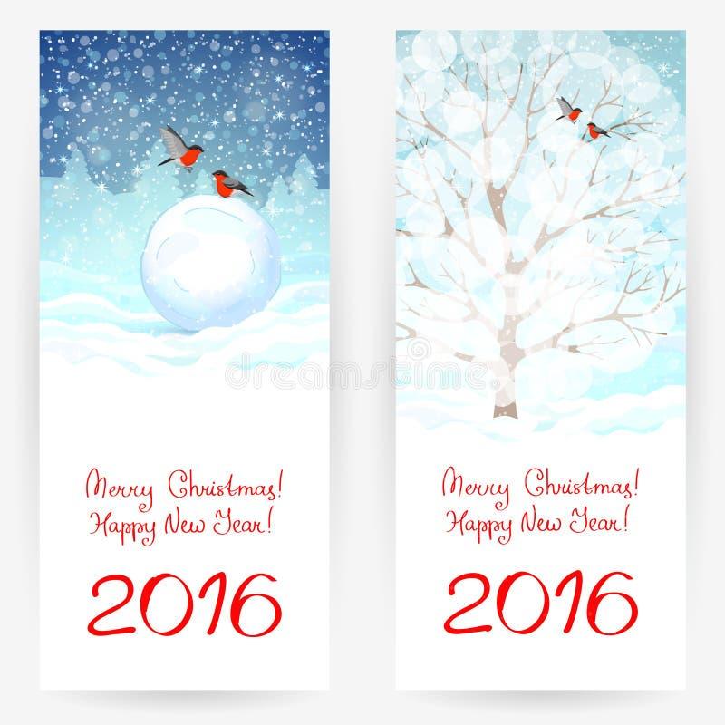 Cartoline d'auguri del nuovo anno illustrazione vettoriale