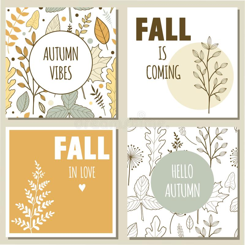 Cartoline d'auguri di autunno illustrazione di stock