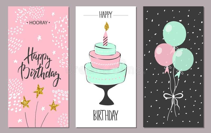 Cartoline d'auguri di buon compleanno e modelli dell'invito del partito, illustrazione Stile disegnato a mano royalty illustrazione gratis