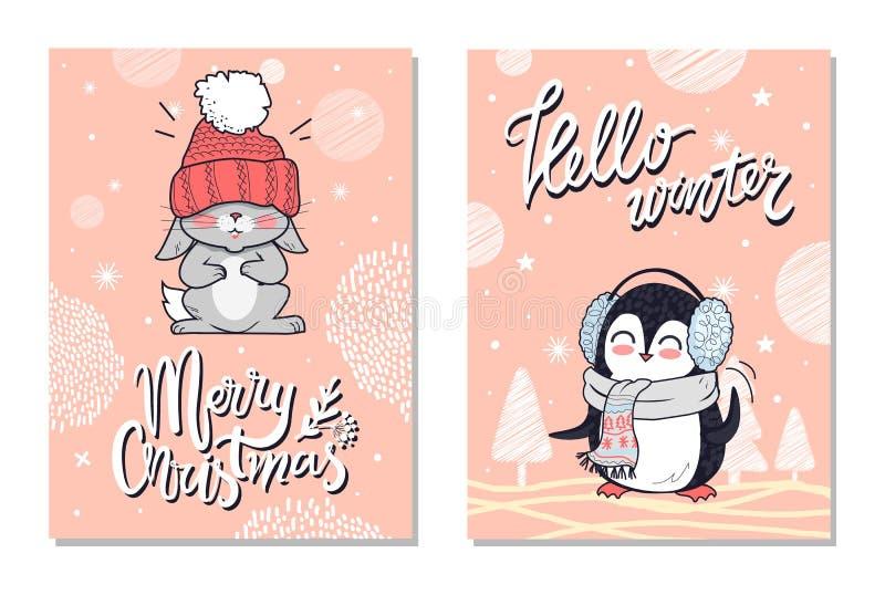 Cartoline d'auguri di Buon Natale con il coniglio del pinguino royalty illustrazione gratis
