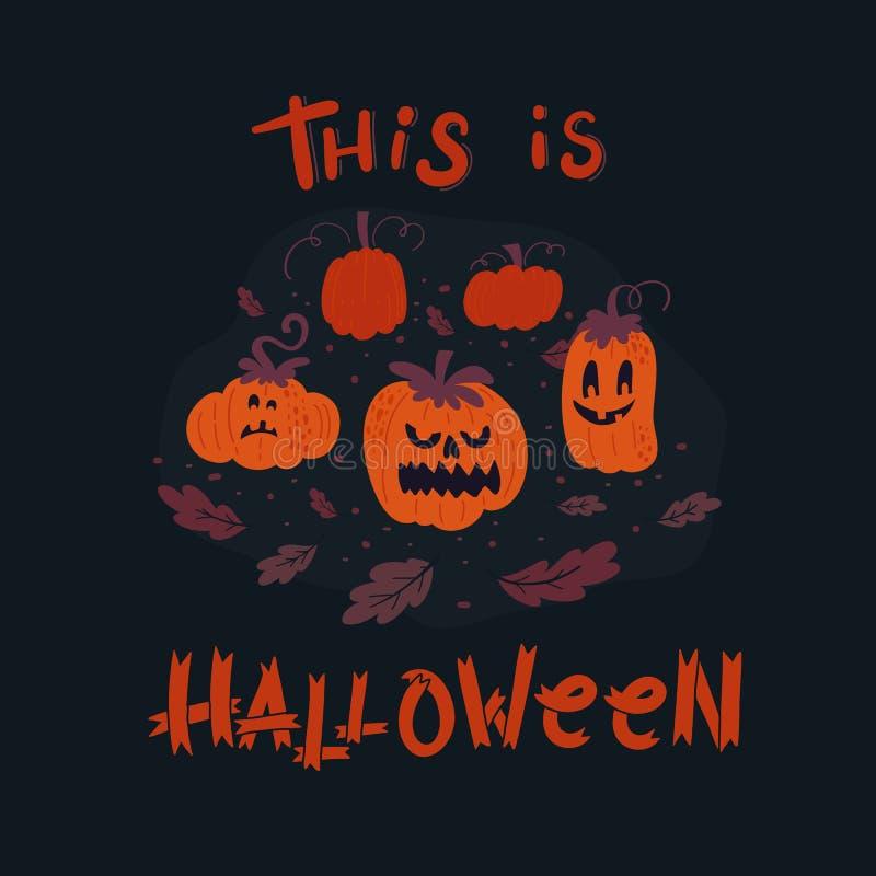 Cartoline d'auguri di Halloween di vettore con la decorazione e l'iscrizione illustrazione di stock