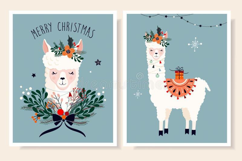 Cartoline d'auguri di Natale messe con il lama sveglio disegnato a mano illustrazione vettoriale