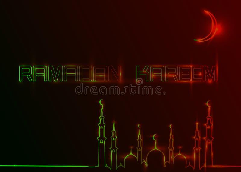 Cartoline d'auguri di Ramadan Kareem, stile dell'insegna al neon Modello di progettazione, insegna leggera, annuncio al neon di n illustrazione vettoriale