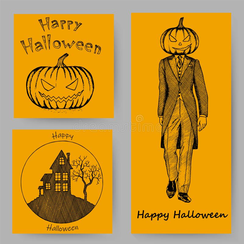 Cartoline d'auguri disegnate a mano dell'invito o di Halloween messe illustrazione di stock