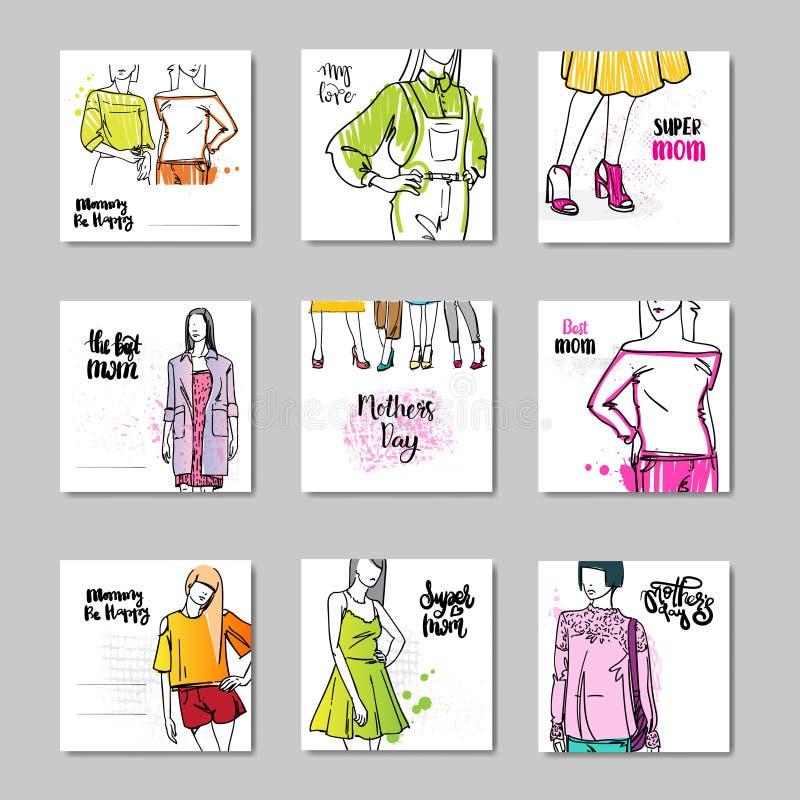 Cartoline d'auguri felici di giorno di madre messe con la bella siluetta femminile e l'iscrizione disegnata a mano illustrazione vettoriale