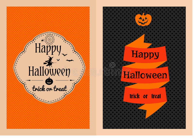 Cartoline d'auguri felici di Halloween messe illustrazione vettoriale