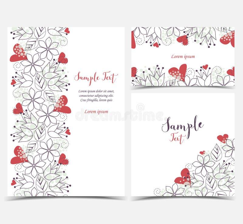 Cartoline d'auguri floreali illustrazione vettoriale