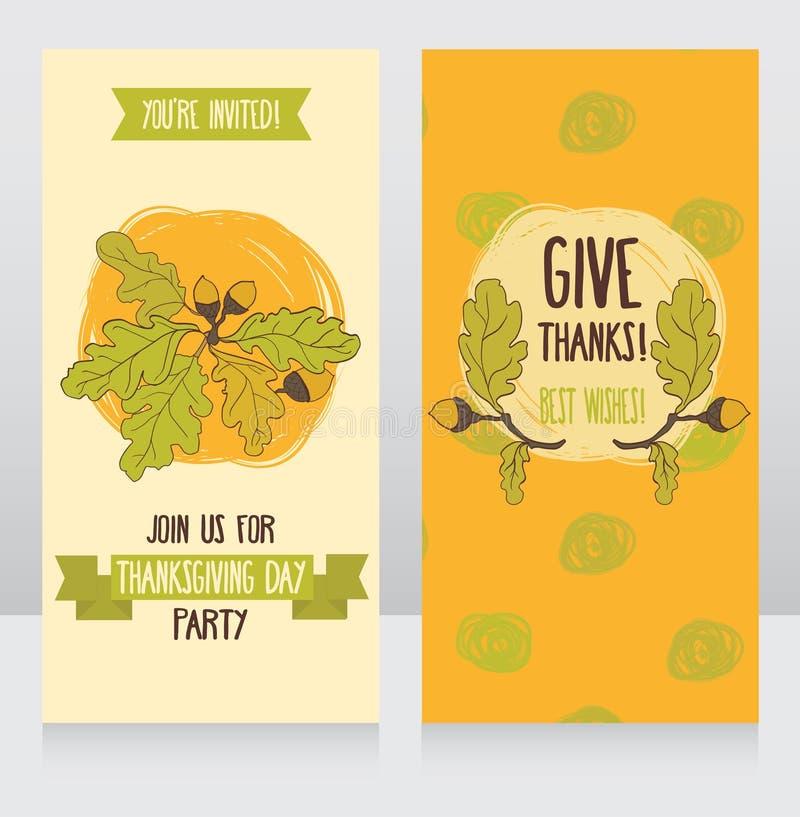 Cartoline d'auguri per il giorno di ringraziamento royalty illustrazione gratis