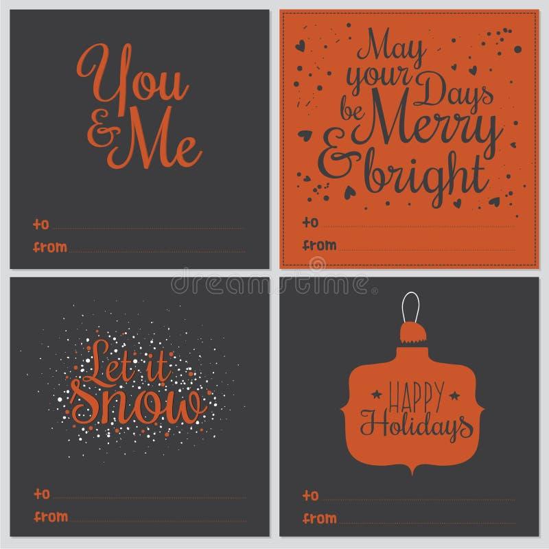 Cartoline d'auguri quadrato del nuovo anno e di Natale illustrazione vettoriale