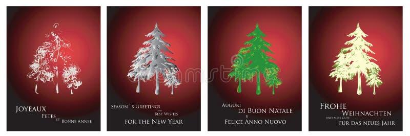 Cartoline d'auguri in quattro linguaggi royalty illustrazione gratis