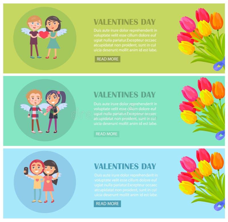 Cartoline di giorno di biglietti di S. Valentino messe con i giovani amanti royalty illustrazione gratis