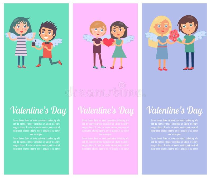 Cartoline di giorno di biglietti di S. Valentino messe con i giovani amanti illustrazione di stock