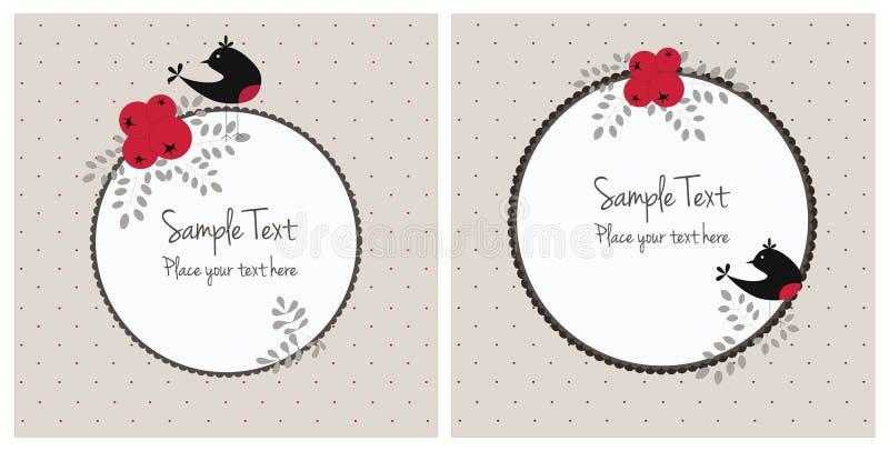 Cartoline di Natale con gli uccelli e le bacche royalty illustrazione gratis