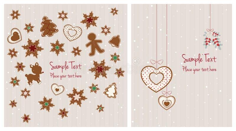 Cartoline di Natale con le decorazioni del pan di zenzero illustrazione vettoriale