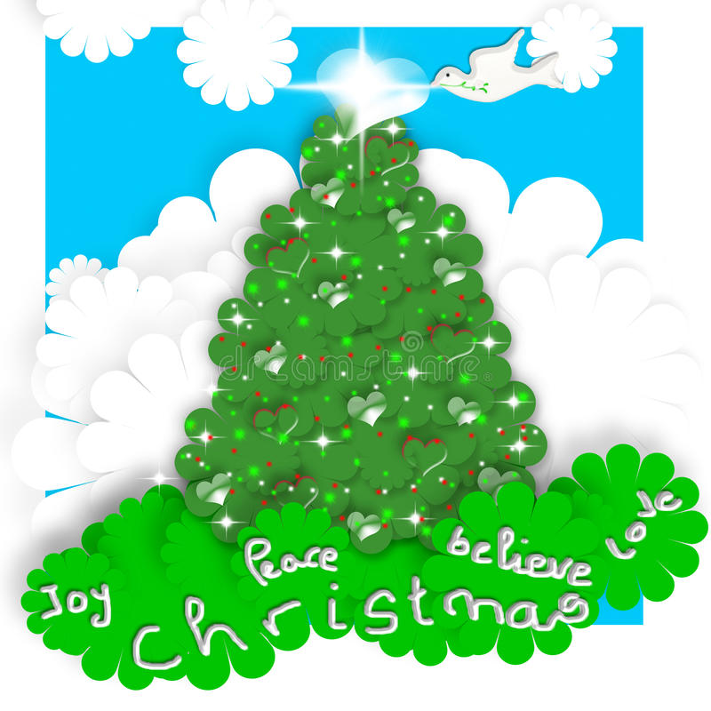Cartoline di Natale del bambino, albero e colomba di pace illustrazione di stock