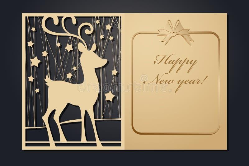 Cartoline di Natale del modello per il taglio del laser L'immagine del nuovo anno diretto della siluetta Illustrazione di vettore royalty illustrazione gratis