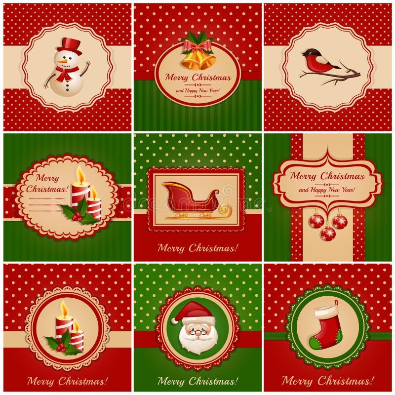 Cartoline di Natale. Illustrazione di vettore. royalty illustrazione gratis