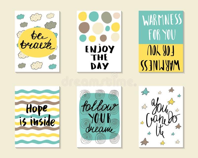 Cartoline disegnate a mano sveglie di scarabocchio illustrazione di stock