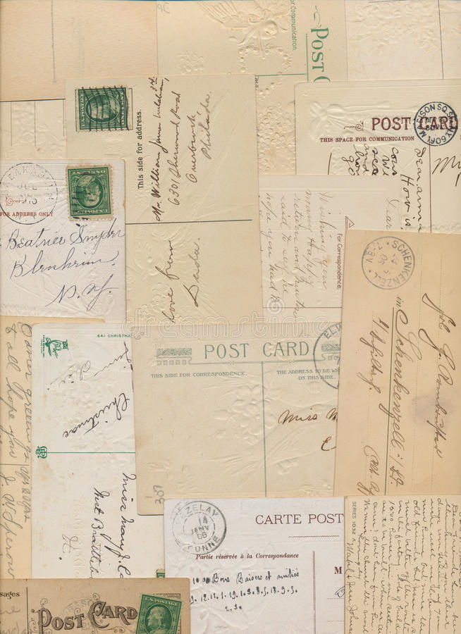 Cartoline e bolli dell'annata immagini stock libere da diritti