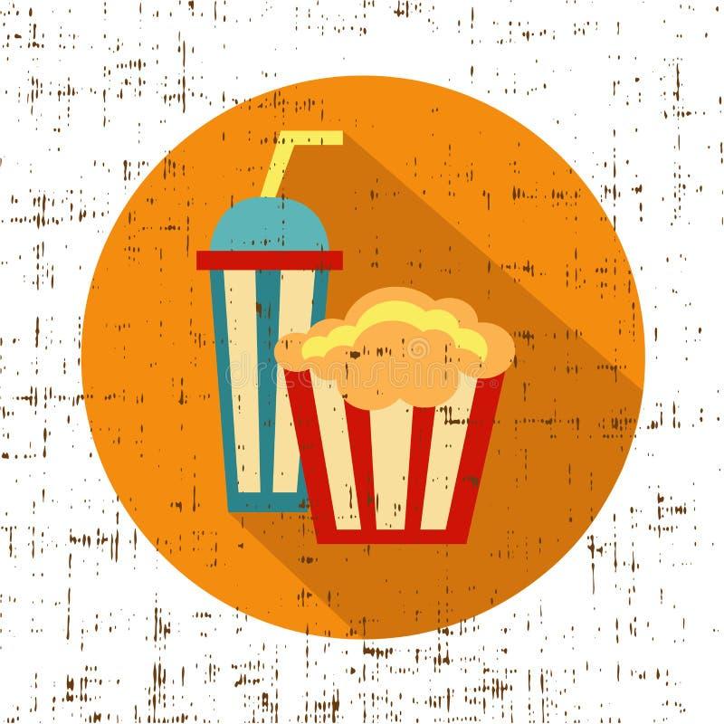 Carton шар вполне попкорна и бумажного стекла питья, вектора текстуры экрана иллюстрация штока