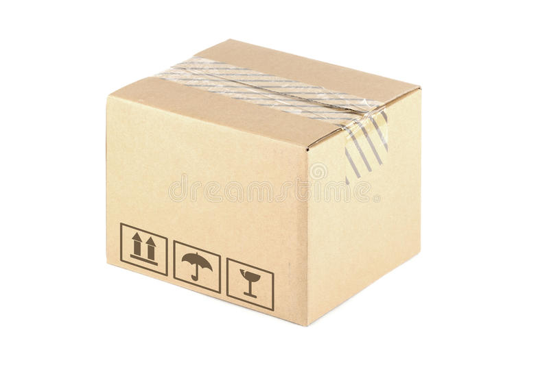 Carton box. With symbols on the white background stock images