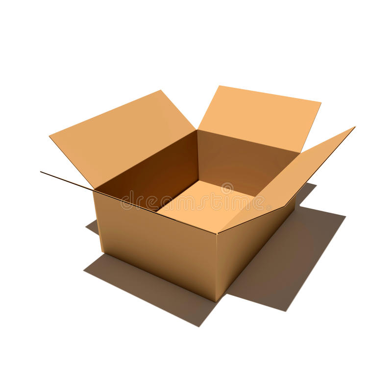 Carton box 3d renderer illustration. Isolated on white background stock images