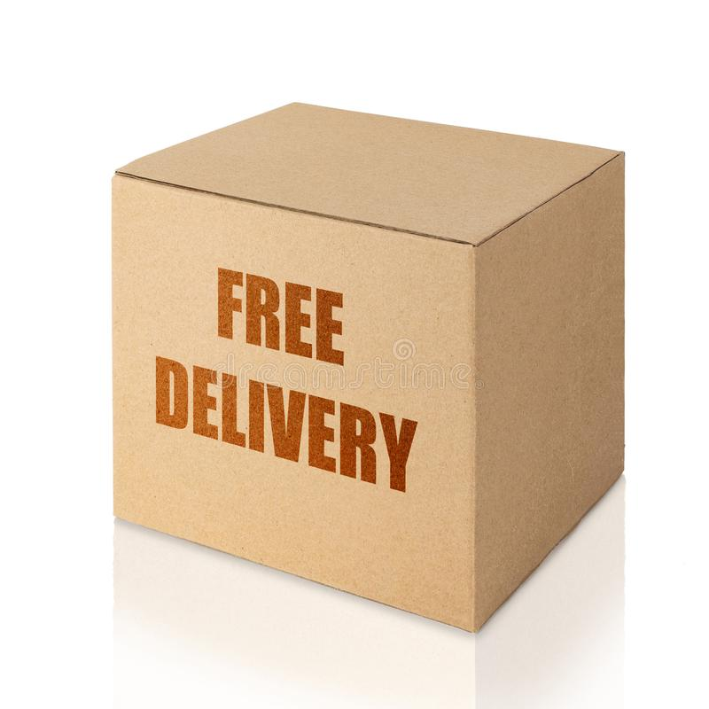 Carton box with free delivery written in brown color stock photo