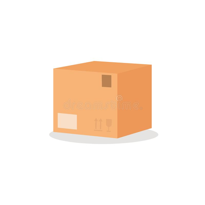 Carton box with furniture sign. Flat style vector illustration isolated on the white background. Moving Concept. Carton box with furniture sign. Simple flat royalty free illustration
