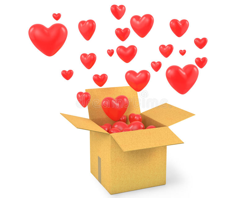 Carton Box With A Lot Of Flying Out Hearts Royalty Free Stock Photo
