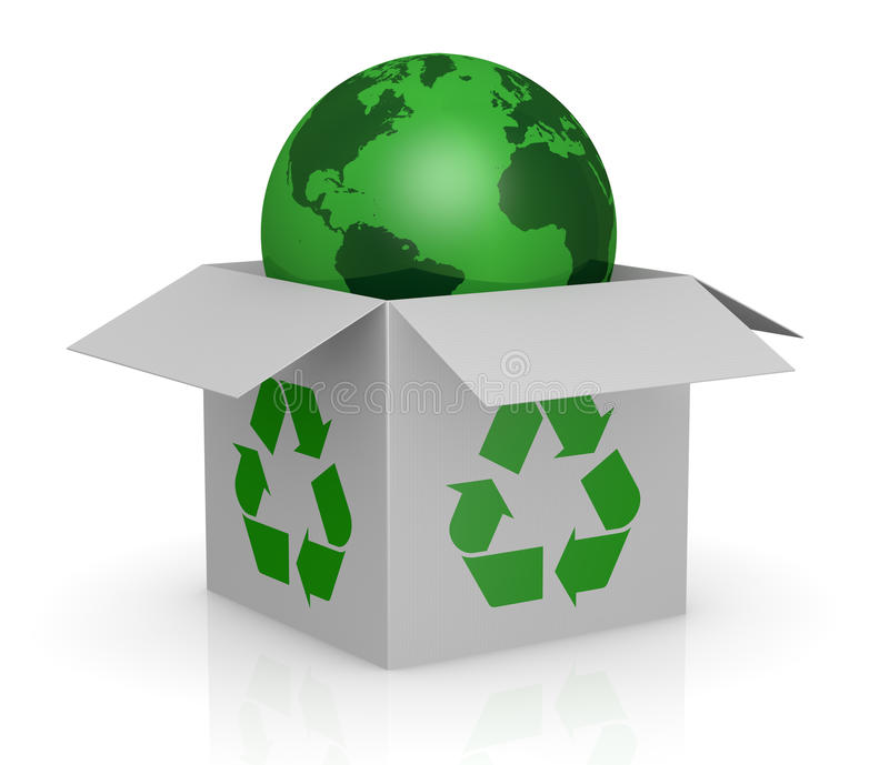 Download Carton Box, Recycling Symbol And A Earth Globe Royalty Free Stock Photos - Image: 24186478