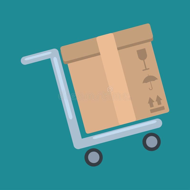 Carton box with trolley for delivery service concept  vector illustration. 