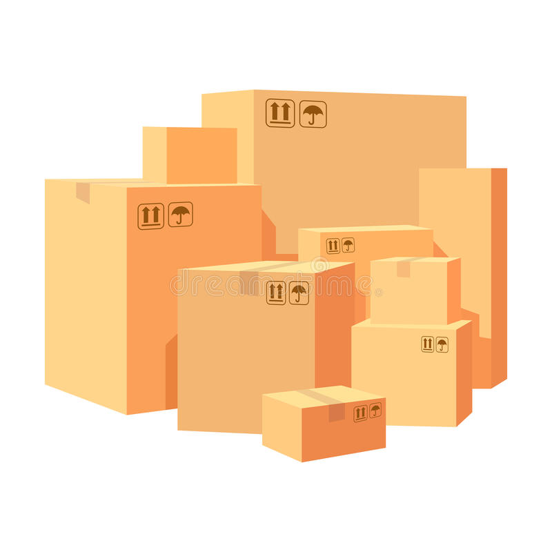 Carton boxes delivery packaging. Pile various of stacked goods cardboard boxes. illustration isolated on whit royalty free illustration