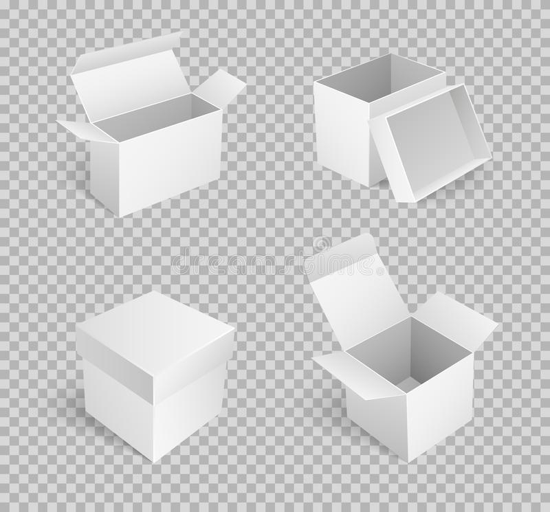 Carton Boxes with Open Top Empty Package Vector. Carton boxes with open top, empty package isolated icon vector on transparent. Cardboard place to store items vector illustration