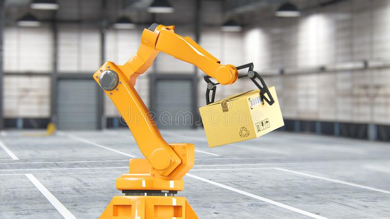 Carton boxes set and special transportation robot and hydraulic machine with mechanic arm using for packing, isolated on stock photography