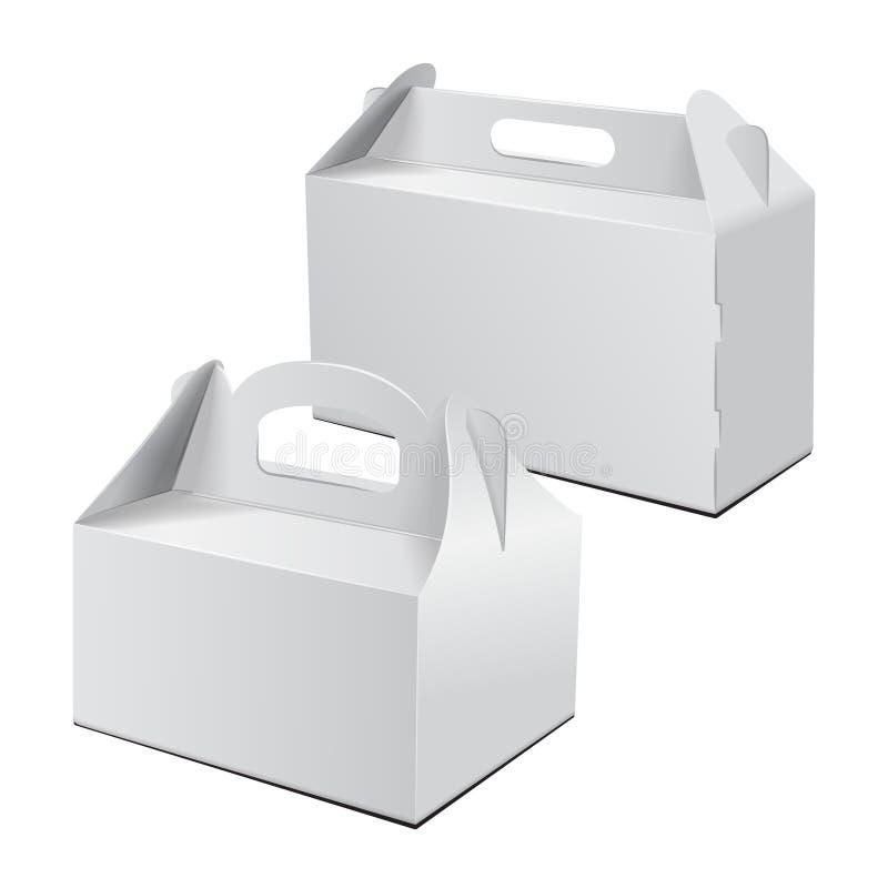 Carton Boxt Pour le gâteau, les aliments de préparation rapide, le cadeau, etc. Carry Packaging Ensemble de maquette de vecteur C illustration stock