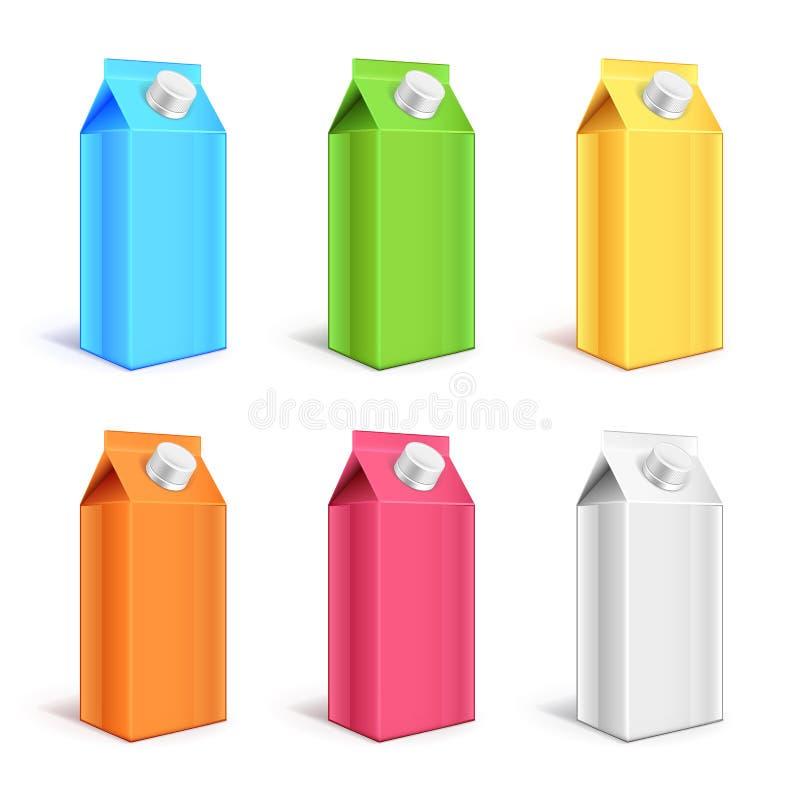 Carton coloré de yaourt empaquetant l'ensemble réaliste du vecteur 3d illustration de vecteur