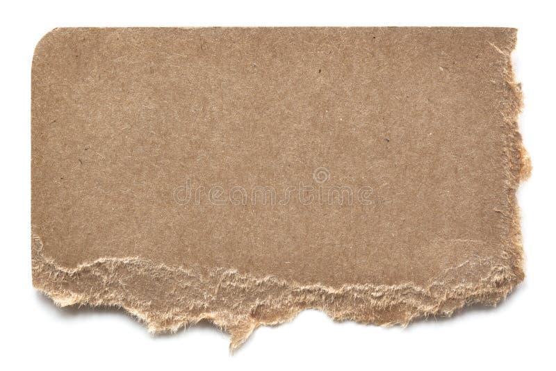 Carton déchiré de Brown au-dessus de blanc photos libres de droits