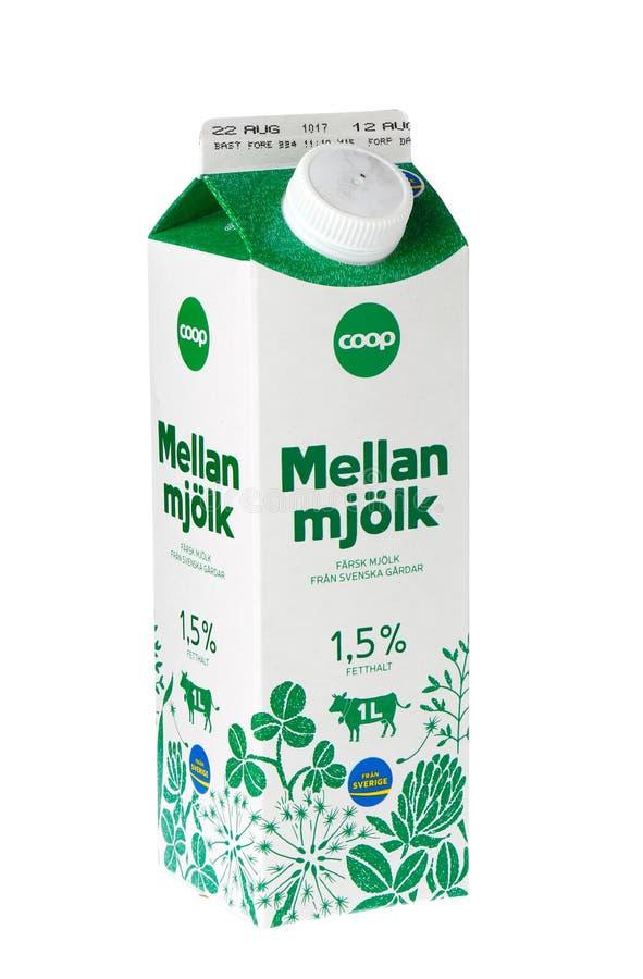 Carton de lait écrémé de cage image libre de droits