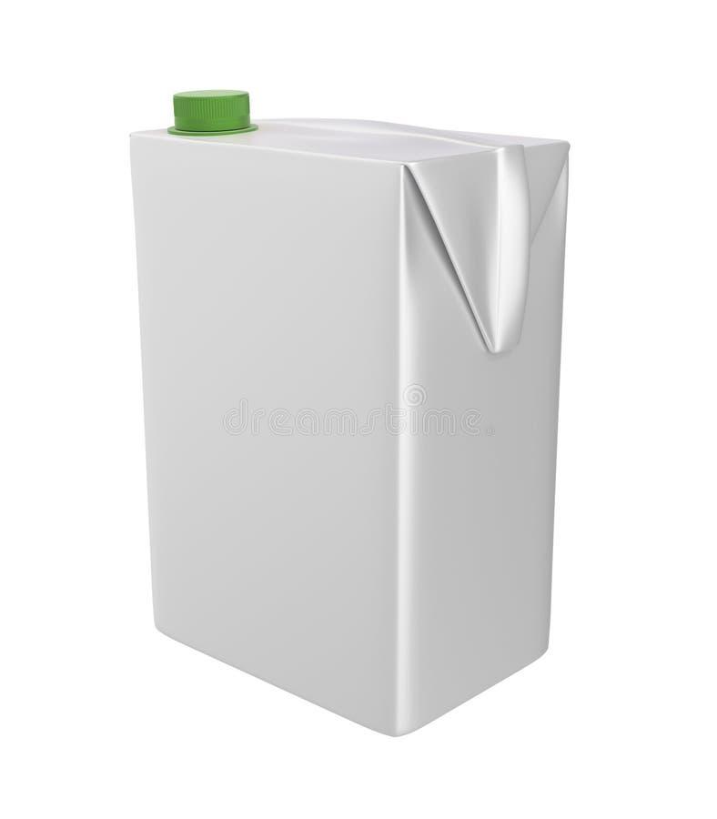 Carton de lait, de jus ou de crème Couvercle vert Fond blanc Chemin de coupure Calibre vide pour votre conception illustration de vecteur