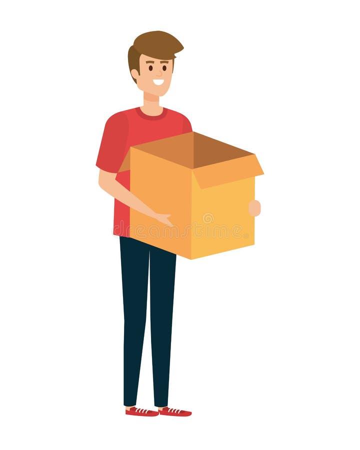 Carton de levage de boîte de jeune homme illustration libre de droits