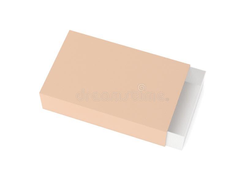 Carton de papier de glisseur Boîte d'allumettes illustration du rendu 3d d'isolement illustration stock