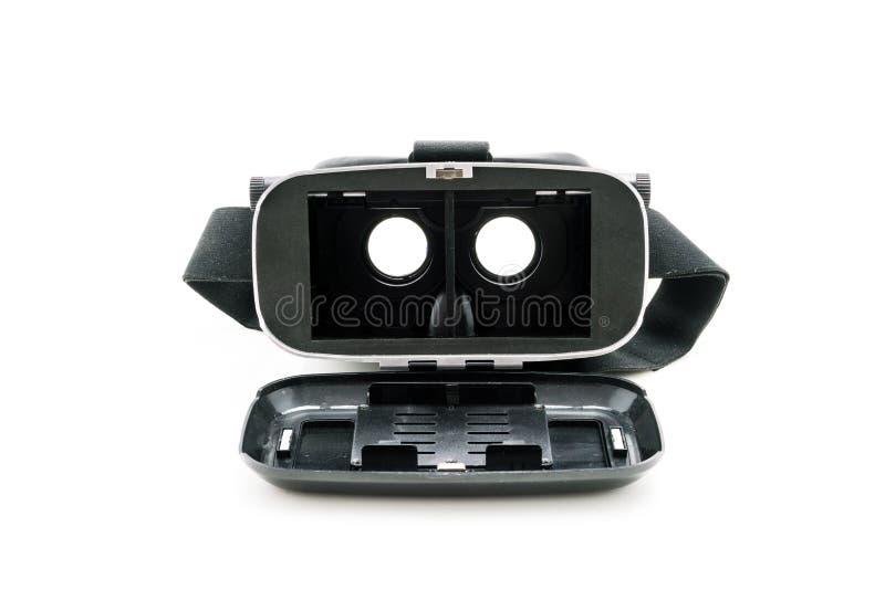 Carton de VR, réalité virtuelle à la maison, sur le fond blanc photographie stock